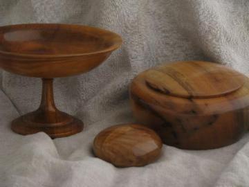 vintage treenware box, pedestal bowl - silky smooth Oregon myrtle wood