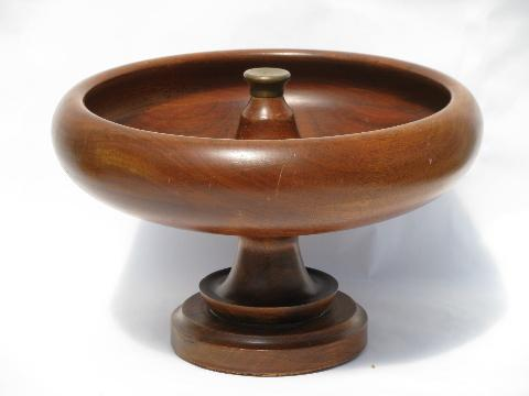 vintage treenware, huge walnut wood pedestal bowl for nuts