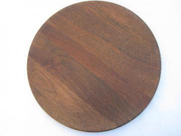 vintage treenware plate, solid walnut