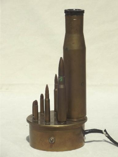 vintage trench art lamp, WWII brass shell casings from artillery & rifles