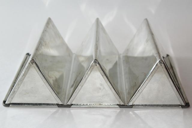 Vintage Triple Loaf Pan Triangle Shape Baking Cake Or