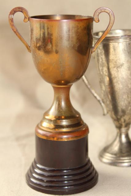 vintage trophies, miniature trophy cup vases display urns w/ worn bronze & silver patina