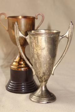vintage trophies, miniature trophy cup vases display urns w/ worn bronze & silver patina