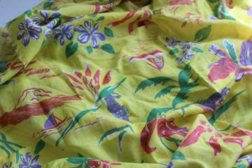 vintage tropical print fabric, sheer light cotton w/ Bali tigers, volcanoes