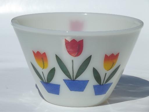 vintage tulip Fire-King ivory glass mixing bowl, small splash proof bowl