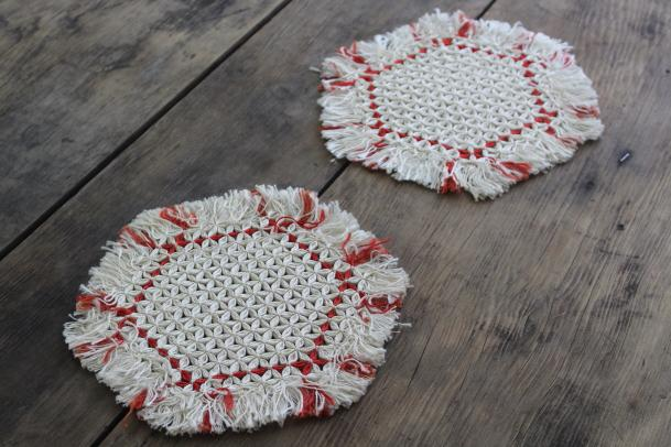 vintage turkey red lamp table mats or hot mat trivets, knotted thread w/ tied fringe