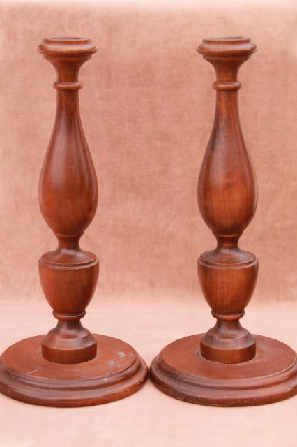 vintage turned wood candlesticks lot, collection of shapes, sizes & different woods