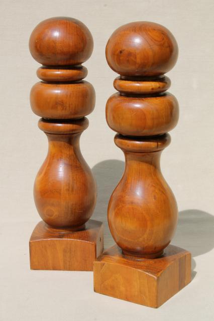 Vintage Turned Wood Finials Hat Stand Baluster Banister Knob Posts