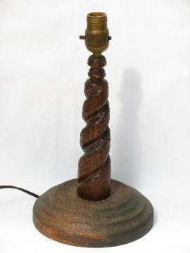 vintage turned wood treenware lamp, antique early electric plug, socket