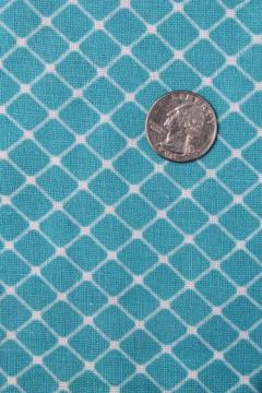 vintage turquoise & white print cotton feedsack fabric, sewn sack w/ original chain stitching