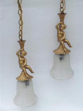 vintage twin pendant light, gilt gold cast metal cherubs, very french!