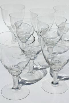 vintage twist stem water glasses, crystal clear glass goblets, Lisa pattern
