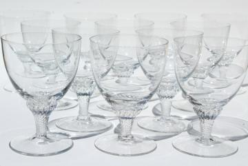 vintage twist stem wine glasses, crystal clear glass goblets, Lisa pattern
