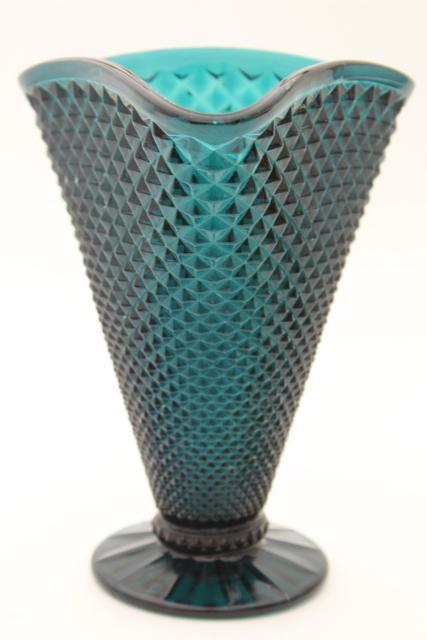Vintage Ultramarine Teal Blue Spruce Green Glass Vase Diamond Point