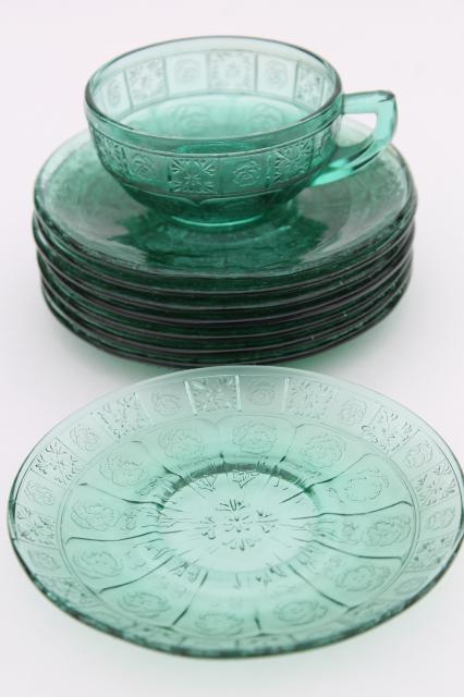 Vintage Ultramarine Teal Green Depression Glass Doll Dishes Doric And Pansy Pattern