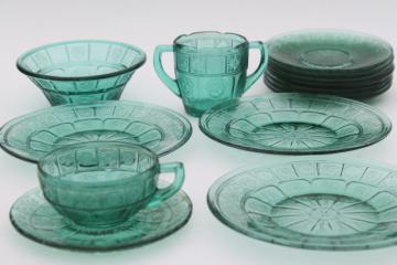 vintage ultramarine teal green depression glass doll dishes, doric and pansy pattern