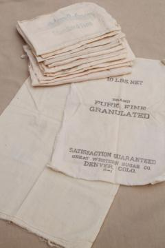 vintage unbleached cotton fabric sugar sacks, primitive old feedsack fabric