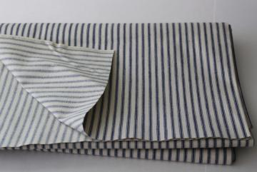 vintage unbleached cotton ticking fabric, blue stripe heavy canvas weight material