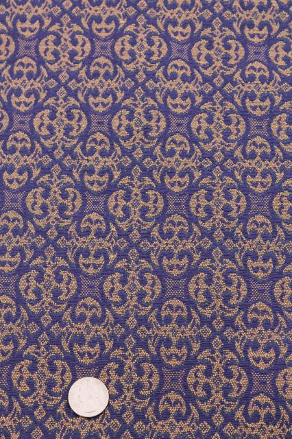 vintage upholstery fabric, royal purple violet blue & gold w ...
