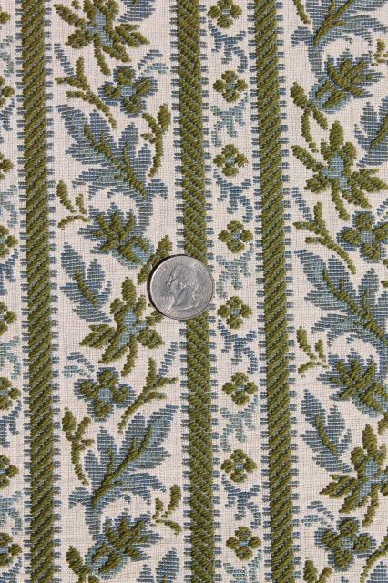 Vintage Upholstery Fabric Shades Of Blue Brocade Amp Cotton