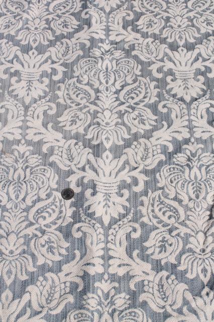 Vintage Upholstery Fabric Shades Of Blue Brocade Cotton Barkcloth