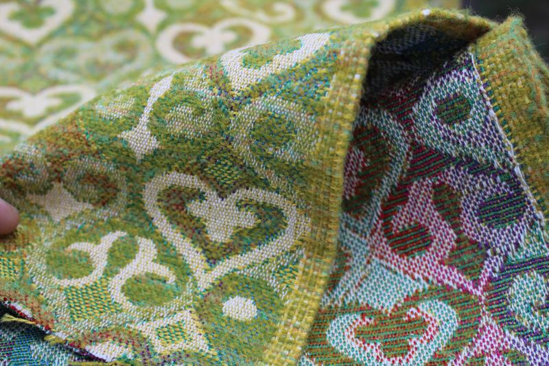 vintage upholstery fabric, wool blend tapestry w/ celtic style hearts