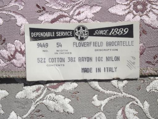 vintage upholstery samples lot, Italian cotton / rayon brocatelle fabric