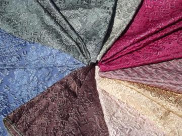 vintage upholstery samples lot, Italian rayon / hemp brocatelle fabric