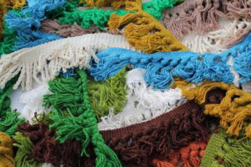 vintage upholstery trim lot, wooly braid w/ chunky yarn fringe & tassels, retro colors!