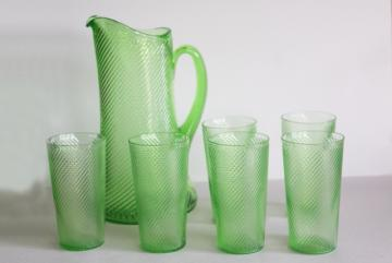 vintage uranium green depression glass lemonade set pitcher tumblers Federal corded optic spiral