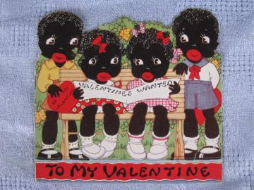 vintage valentine card w/ little Black Sambo story, Black Americana