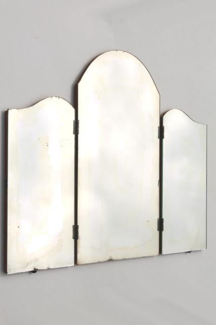 vintage vanity dressing table mirror, standing triptych three way surround folding mirror on board