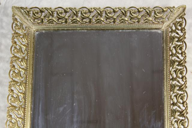 vintage vanity easel mirror & perfume tray, gold lace metal filigree frame
