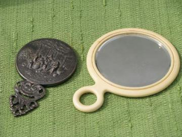 vintage vanity hand mirrors, Danish pewter, ivory celluloid ring handle