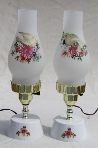 vintage vanity lamps w/ doves & roses, pair dresser lamps w/ glass chimney shades