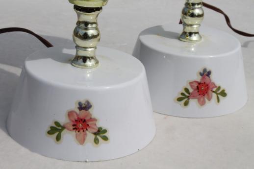 Vanity Lamps Vintage : vintage vanity lamps w/ doves & roses, pair dresser lamps w/ glass chimney shades