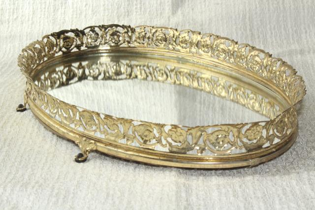 vintage vanity mirror perfume tray, gold lace metal filigree frame glass  mirror - Vintage Vanity Mirror Perfume Tray, Gold Lace Metal Filigree Frame