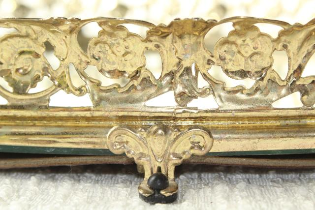 vintage vanity mirror perfume tray, gold lace metal filigree frame glass mirror