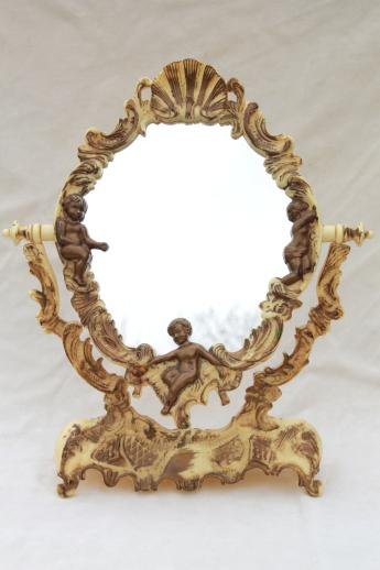 vintage vanity stand mirror for a fairy tale princess, ivory plastic ...