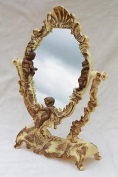 vintage vanity stand mirror for a fairy tale princess, ivory plastic frame w/ gold angels