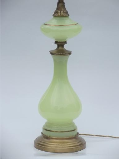 vintage vaseline custard glass lamp, tall Stiffel brass / art glass lamp