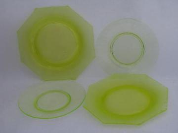 vintage vaseline yellow-green depression glass plates, 1930s art deco