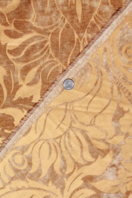 vintage velvet brocade decorating / upholstery fabric, honey gold, amber yellow