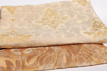 vintage velvet brocade decorating / upholstery fabric, honey gold, amber yellow