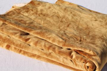vintage velvet fabric, 60s 70s mustard gold cotton rayon velveteen upholstery / drapery material