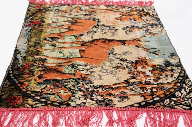 vintage velvet plush tapestry wall hanging rug deer at the lake scene rustic cabin decor