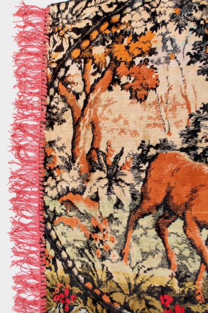 vintage velvet plush tapestry wall hanging rug, deer at the lake scene, rustic cabin decor