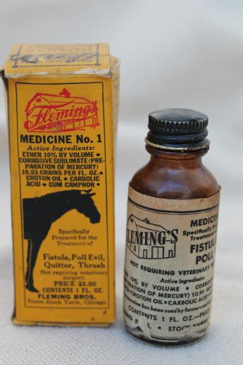 vintage veterinary cure for horses, collectible quack medicine boxes