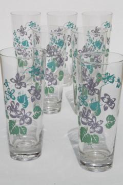 vintage violet print drinking glasses, tall tumblers summer coolers w/ Royalon lavender violets