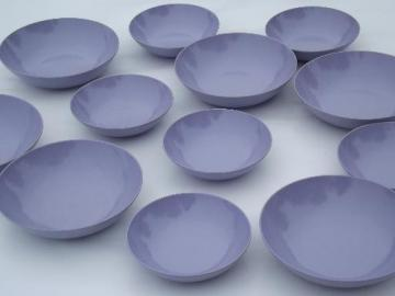 vintage violet purple melmac, retro Royalon bowls, soup and small bowl set